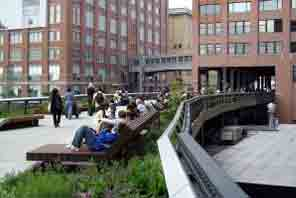 Views of the High Line Park in New York